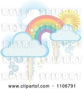 Vector Clip Art of Retro Pastel Rainbow with Clouds and Pixel Trails on White by Amanda Kate