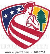 Vector Clip Art of Retro Patriot Rugby Player Made of Stripes in a Star and Tree Shield by Patrimonio