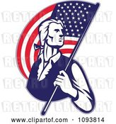 Vector Clip Art of Retro Patriotic Guy Carrying an American Flag by Patrimonio
