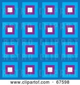 Vector Clip Art of Retro Pattern Background of Blue, White and Purple Squares by Arena Creative