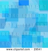 August 14th, 2018: Vector Clip Art of Retro Patterned Background of Transparent Blue Shapes and Squares by KJ Pargeter