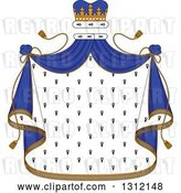 Vector Clip Art of Retro Patterned Royal Mantle with a Blue Crown and Drapes by Vector Tradition SM