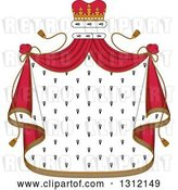 Vector Clip Art of Retro Patterned Royal Mantle with a Red Crown and Drapes by Vector Tradition SM