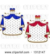 Vector Clip Art of Retro Patterned Royal Mantle with Red and Blue Crowns and Drapes by Vector Tradition SM