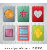 Vector Clip Art of Retro Patterned Shape Backgrounds or Cards on Gray by KJ Pargeter