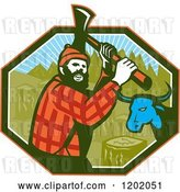 Vector Clip Art of Retro Paul Bunyan Lumberjack and Babe Blue Ox in an Octagon by Patrimonio