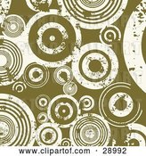 August 14th, 2018: Vector Clip Art of Retro Pea Green Background with White Grunge Circles by KJ Pargeter