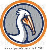 Vector Clip Art of Retro Pelican Bird in an Orange White Blue and Gray Circle by Patrimonio