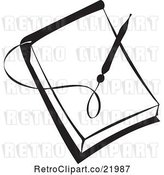 Vector Clip Art of Retro Pen over a Blank Note Pad by BestVector