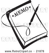 Vector Clip Art of Retro Pen over a Memo by BestVector