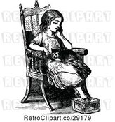 Vector Clip Art of Retro Pensive Girl and Cat in a Chair by Prawny Vintage