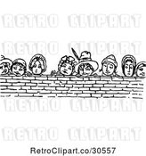 Vector Clip Art of Retro People Looking over a Brick Wall by Prawny Vintage