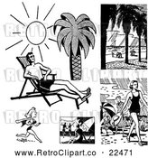 Vector Clip Art of Retro People on Beaches by BestVector