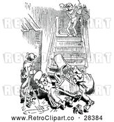 Vector Clip Art of Retro People Tumbling down Stairs by Prawny Vintage