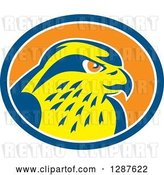 Vector Clip Art of Retro Peregrine Falcon Head in a Blue White and Orange Oval by Patrimonio