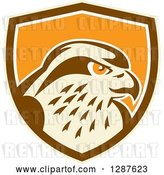 Vector Clip Art of Retro Peregrine Falcon Head in a Tan Brown White and Orange Shield by Patrimonio