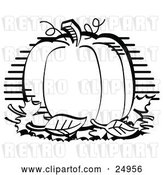 Vector Clip Art of Retro Perfectly Round Halloween or Thanksgiving Pumpkin Surrounded by Fall Leaves by Andy Nortnik