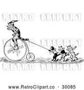 Vector Clip Art of Retro Performing Cats with a Penny Farthing by Prawny Vintage