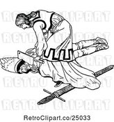 Vector Clip Art of Retro Person Killing the Baddie by Prawny Vintage