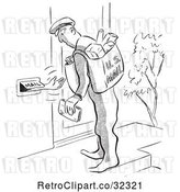 Vector Clip Art of Retro Person Reaching out of a Mail Slot to the Postal Worker by Picsburg