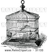 Vector Clip Art of Retro Pet Bird in a Cage by Prawny Vintage