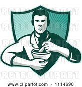 Vector Clip Art of Retro Pharmacist Holding a Mortar and Pestle over a Ray Shield by Patrimonio