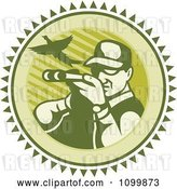 Vector Clip Art of Retro Pheasant Hunter Aiming His Rifle on a Green Circle by Patrimonio