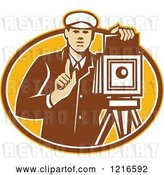 Vector Clip Art of Retro Photographer Holding up a Finger by a Bellow Camera by Patrimonio