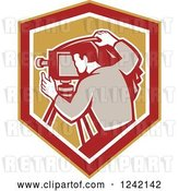 Vector Clip Art of Retro Photographer in a Shield by Patrimonio