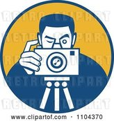 Vector Clip Art of Retro Photographer Taking a Picture over an Orange Circle by Patrimonio