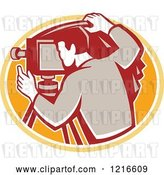 Vector Clip Art of Retro Photographer Using a Camera by Patrimonio