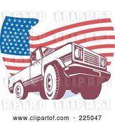 Vector Clip Art of Retro Pick up Truck and Wavy American Flag Logo by Patrimonio