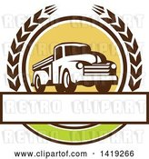 Vector Clip Art of Retro Pickup Truck in a Wheat Wreath over a Blank Text Box by Patrimonio