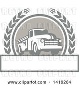 August 14th, 2018: Vector Clip Art of Retro Pickup Truck in a Wheat Wreath over a Text Box by Patrimonio