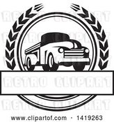 Vector Clip Art of Retro Pickup Truck in a Wheat Wreath over a Text Box by Patrimonio