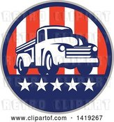 Vector Clip Art of Retro Pickup Truck in an American Themed Circle by Patrimonio