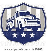 Vector Clip Art of Retro Pickup Truck in an American Themed Shield by Patrimonio