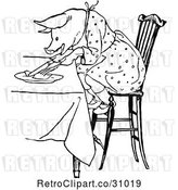 Vector Clip Art of Retro Pig Eating at a Table by Prawny Vintage