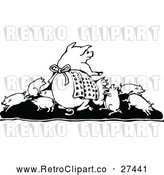 Vector Clip Art of Retro Pig Family by Prawny Vintage