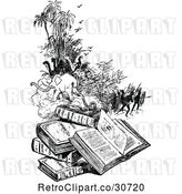 Vector Clip Art of Retro Pile of Books and Scenes by Prawny Vintage