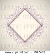 Vector Clip Art of Retro Pink and Beige Diamond Frame by KJ Pargeter