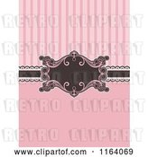 Vector Clip Art of Retro Pink and Brown Invitation with Stripes and a Frame by KJ Pargeter