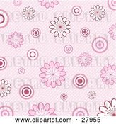 Vector Clip Art of Retro Pink Background of White and Pink Flowers and Circles over a Weaved Texture by KJ Pargeter