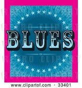 Vector Clip Art of Retro Pink Border Around a Background of Blue Stars and Bursts with BLUES Text by J Whitt
