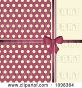 Vector Clip Art of Retro Pink Bow with Polka Dots on Beige by Elaineitalia