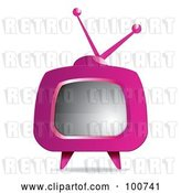Vector Clip Art of Retro Pink Box Television with a Blank Screen by MilsiArt