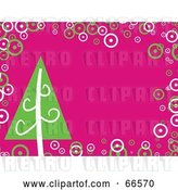 Vector Clip Art of Retro Pink Christmas Background with a Christmas Tree and Bubbles by Prawny