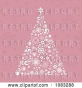 Vector Clip Art of Retro Pink Christmas Tree Background by KJ Pargeter