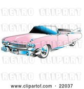 Vector Clip Art of Retro Pink Convertible 1959 Cadillac Car with Chrome Accents and the Top down by Andy Nortnik