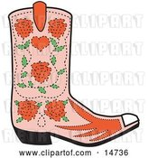 Vector Clip Art of Retro Pink Cowgirl Boot with a Pattern of Red Roses by Andy Nortnik